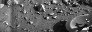 The first photo from the surface of Mars shows one of the Viking 1 lander's footpads. Credit: NASA/JPL
