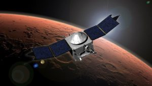 Artist concept of NASA's Mars Atmosphere and Volatile Evolution (MAVEN) mission. Credit: NASA/Goddard Space Flight Center