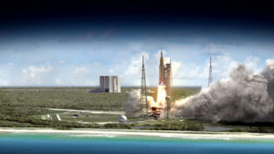 Space Launch System heads outward on projected 2018 Exploration Mission-1. Credit: NASA