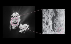 On February 19, 2016 Rosetta's instruments detected an outburst event from Comet 67P/Churyumov–Gerasimenko. The source was traced back to a location in the Atum region, on the comet's large lobe, as indicated in this image. Credit: ESA/Rosetta/NavCam – CC BY-SA IGO 3.0