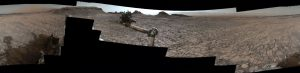 "This 360-degree vista was acquired on Aug. 5, 2016, by the Mastcam on NASA's Curiosity Mars rover as the rover neared features called ""Murray Buttes"" on lower Mount Sharp. The dark, flat-topped mesa seen to the left of the rover's arm is about 50 feet high and, near the top, about 200 feet wide. Credit: NASA/JPL-Caltech/MSSS"