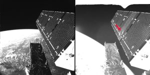 Sentinel-1A's solar array before and after the impact of a millimeter-size particle on the second panel. The damaged area has a diameter of about 40 centimeters, which is consistent on this structure with the impact of a fragment of less than 5 millimeters in size. Credit: ESA/ATG medialab
