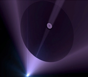 Artist rendering of the Directed Energy Interstellar Study. Credits: P. Lubin