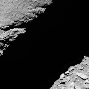 Rosetta's OSIRIS narrow-angle camera captured this image of Comet 67P/Churyumov-Gerasimenko at 10:14 GMT from an altitude of about 1.2 km during the spacecraft's final descent on 30 September. The image scale is about 2.3 cm/pixel and the image measures about 33 m across. Credit: ESA/Rosetta/MPS for OSIRIS Team MPS/UPD/LAM/IAA/SSO/INTA/UPM/DASP/IDA