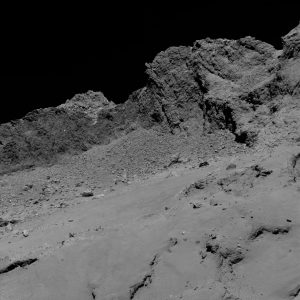 Rosetta's OSIRIS narrow-angle camera captured this image of Comet 67P/Churyumov-Gerasimenko at 01:20 GMT from an altitude of about 16 km above the surface during the spacecraft's final descent on 30 September. The image scale is about 30 cm/pixel and the image measures about 614 m across. Credit: ESA/Rosetta/MPS for OSIRIS Team MPS/UPD/LAM/IAA/SSO/INTA/UPM/DASP/IDA