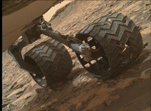 Rover's Mars Hand Lens Imager (MAHLI) took this survey image of wheel damage on September 25, 2016, Sol 1471. Credit: NASA/JPL-Caltech/MSSS