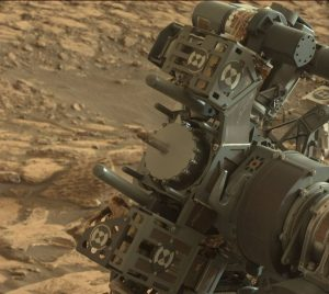 Dirty deed! Drilling into Mars. Image of the working end of drill taken by Curiosity's Mastcam Left imager, taken on Sol 1464, September 18, 2016. Credit: NASA/JPL-Caltech/MSSS