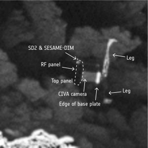 Lost and found Philae comet lander. ESA/Rosetta/MPS for OSIRIS Team MPS/UPD/LAM/IAA/SSO/INTA/UPM/DASP/IDA
