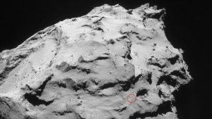 The Rosetta orbiter is scheduled to land in the Ma'at region – a particularly active area. Scientific data will be acquired and photographs taken before its impact. Credit: ESA/Rosetta/Nav-Cam.