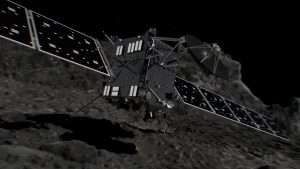 Artist's impression of Rosetta shortly before hitting Comet 67P/Churyumov–Gerasimenko on September 20, 2016. Credit: ESA/ATG medialab Description