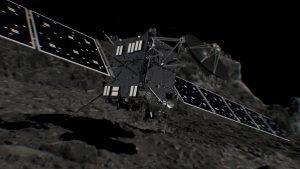 Artist's impression of Rosetta shortly before hitting Comet 67P/Churyumov–Gerasimenko on September 20, 2016. Credit: ESA/ATG medialab Description