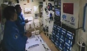 Live aboard China's Tiangong-2 Space Lab. Shenzhou-11 astronauts are able to watch daily TV shows. Credit: CCTV-Plus