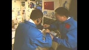 Astronaut duties onboard Tiangong-2 space lab, precursor work for establishing a larger space station in the 2020s. Credit: CCTV
