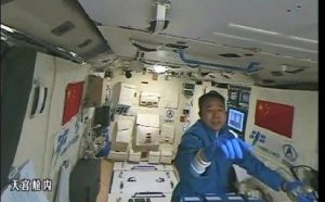 Shenzhou-11 crew is now onboard the Tiangong-2 space lab for the country's longest piloted space mission. Credit: CCTV-Plus