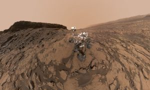 "Self-portrait shows NASA's Curiosity Mars rover at the ""Quela"" drilling location in the scenic ""Murray Buttes"" area on lower Mount Sharp. The panorama was stitched together from multiple images taken by the Mars Hand Lens Imager (MAHLI) camera at the end of the rover's arm. The scene combines approximately 60 images Credit: NASA/JPL-Caltech/MSSS"