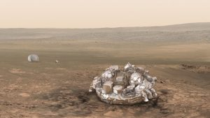 Artist impression of the Schiaparelli module on the surface of Mars. Credit: ESA