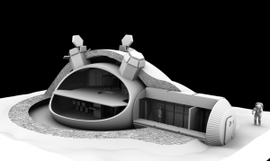 3D-Printed lunar base design. Credit: ESA/Foster + Partners