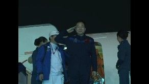 Shenzhou-11 crew arrived in Beijing on Friday night (local time) at the Xijiao Military airport. Credit: CCTV-Plus