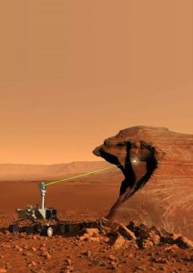 Zap patrol: The Laser-Induced Remote Sensing for Chemistry and Micro-Imaging instrument identifies atomic elements in martian rocks. Credit: NASA/JPL-Caltech/LANL/J.-L. Lacour, CEA
