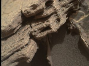 "Curiosity Mars Hand Lens Imager (MAHLI) image of ""Seawall"" taken on November 18, 2016, Sol 1523. MAHLI is located on the turret at the end of the rover's robotic arm. Credit: NASA/JPL-Caltech/MSSS"