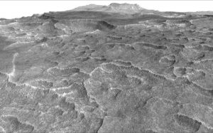 This vertically exaggerated view shows scalloped depressions in Mars' Utopia Planitia region, one of the area's distinctive textures that prompted researchers to check for underground ice, using ground-penetrating radar aboard NASA's Mars Reconnaissance Orbiter. Credit: NASA/JPL-Caltech/Univ. of Arizona