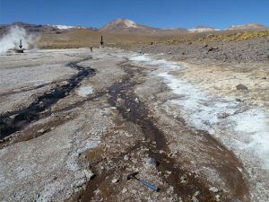 A portion of the volcanic hydrothermal system at El Tatio in Chile. Credit: ASU/Ruff & Farmer