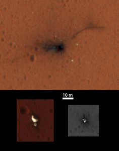 The view from above of Schiaparelli crash site. Credit: NASA/JPL-Caltech/University of Arizona