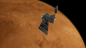 Artist's impression of the European Space Agency's ExoMars 2016 Trace Gas Orbiter at the Red Planet.. Credit:ESA/ATG medialab