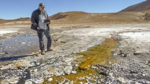 ASU astrobiologist Jack Farmer studies an outflow colored by microorganisms that flows from the hot springs at El Tatio in Chile. Farmer and ASU planetary scientist Steve Ruff have identified silica structures at El Tatio which formed with the help of microorganisms and which appear nearly identical to silica structures found by the Spirit rover at a site on Mars. Credit: Steve Ruff/ASU