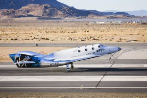Virgin Spaceship Unity (VSS Unity) touches down after flying freely for the first time after being released from Virgin Mothership Eve (VMS Eve) on December 3, 2016 in the Mojave Desert. Credit: Virgin Galactic