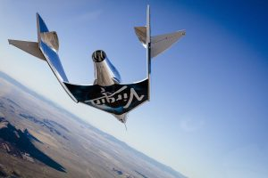 Virgin Spaceship Unity (VSS Unity) glides for the first time after being released from Virgin Mothership Eve (VMS Eve) over the Mojave Desert on 3rd, December 3, 2016. Credit: Virgin Galactic